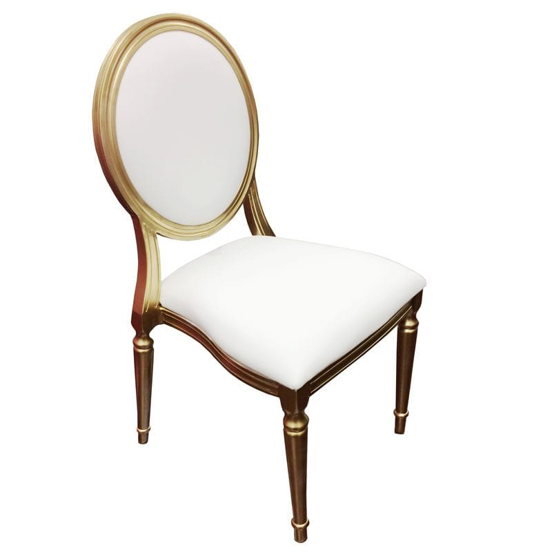 Wedding Reception Chair Rental: Gold & White King Louis Chairs