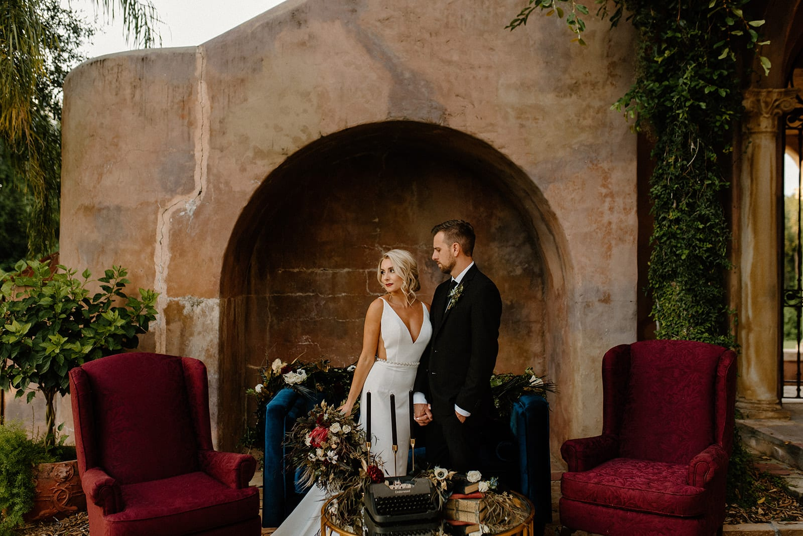 moody modern wedding at the howey mansion with rentals by orlando wedding and party rentals